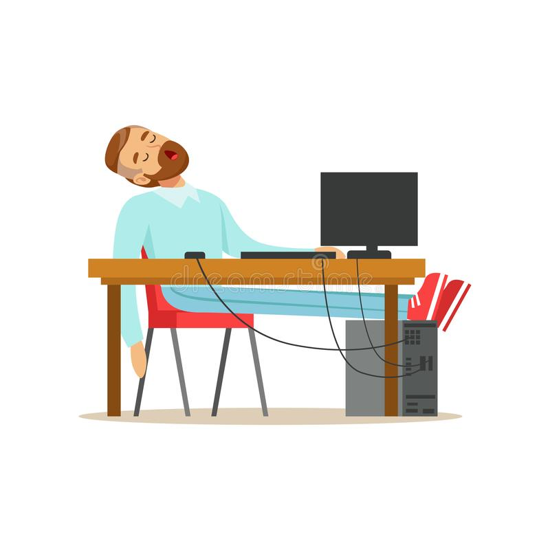 Müder Geschäftsmann, der auf seinem Stuhl im Büro, erschöpfte entspannende Illustration Vektor des Büroangestellten schläft vektor abbildung