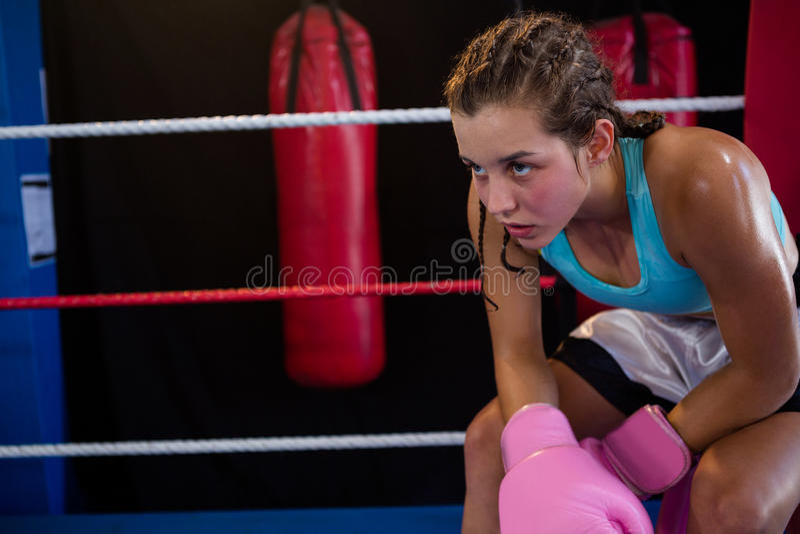 Müder junger Boxer, der an der Ecke sitzt stockbilder