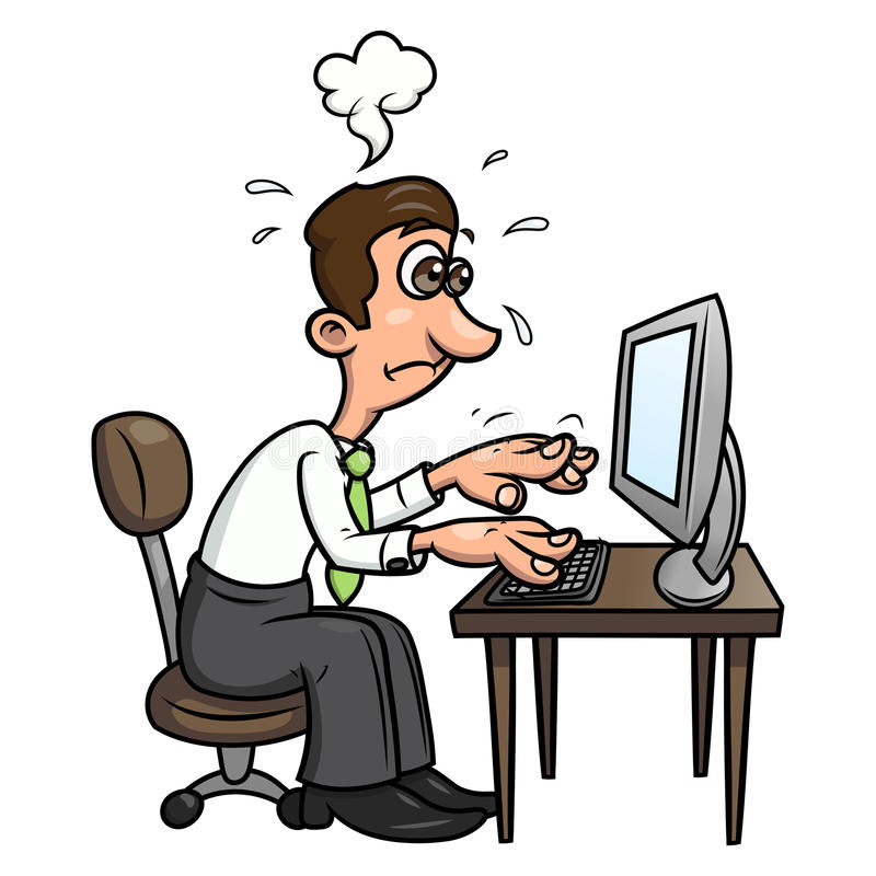 Müder Mann, der an dem Computer 2 arbeitet stock abbildung