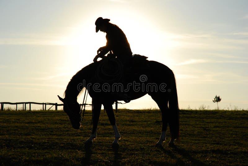 Müder Mann und Pferd lizenzfreies stockbild