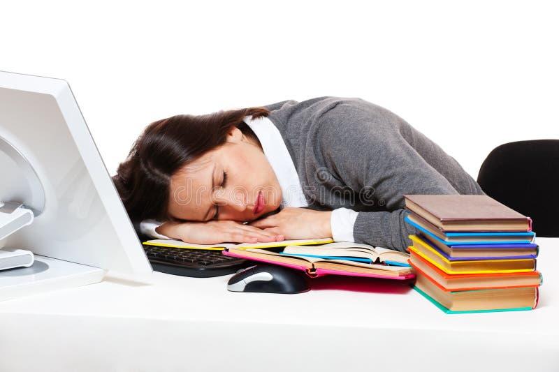 Müdes Kursteilnehmerschlafen stockfotografie