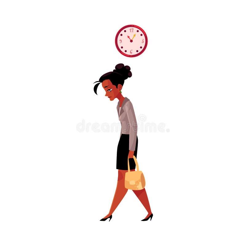 Müdes Schwarzes, Afroamerikanergeschäftsfrau, nach Hause nach der Arbeit gehend lizenzfreie abbildung