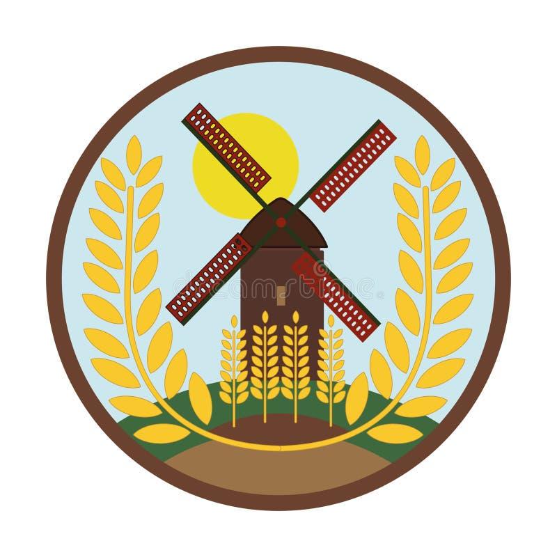 Mühle hat Weizen - Weizenkornlogo vektor abbildung