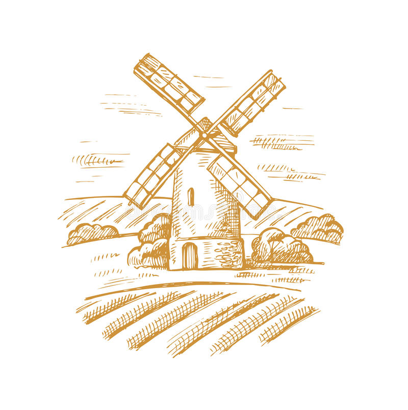 Mühle und Landschaft vektor abbildung