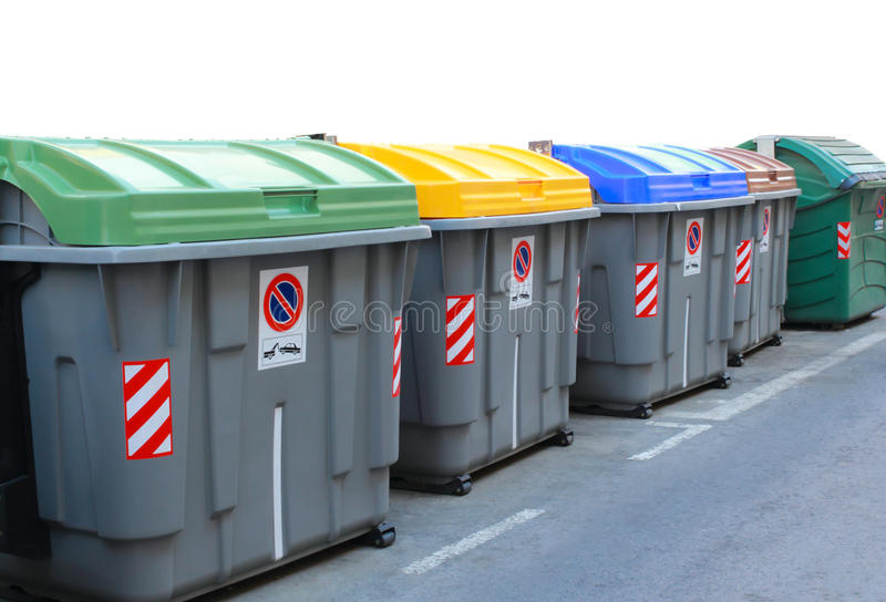 Müllcontainer für die Wiederverwertung stockbilder
