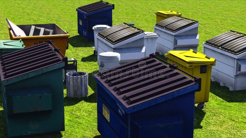 Müllcontainer und Sprünge stockfotos