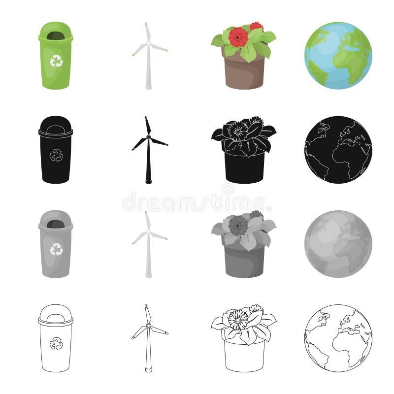 Mülleimer, ökologischer Windgenerator, Blume im Topf, Planet Erde Gesetzte Sammlungsikonen der Ökologie im Karikaturschwarzen lizenzfreie abbildung