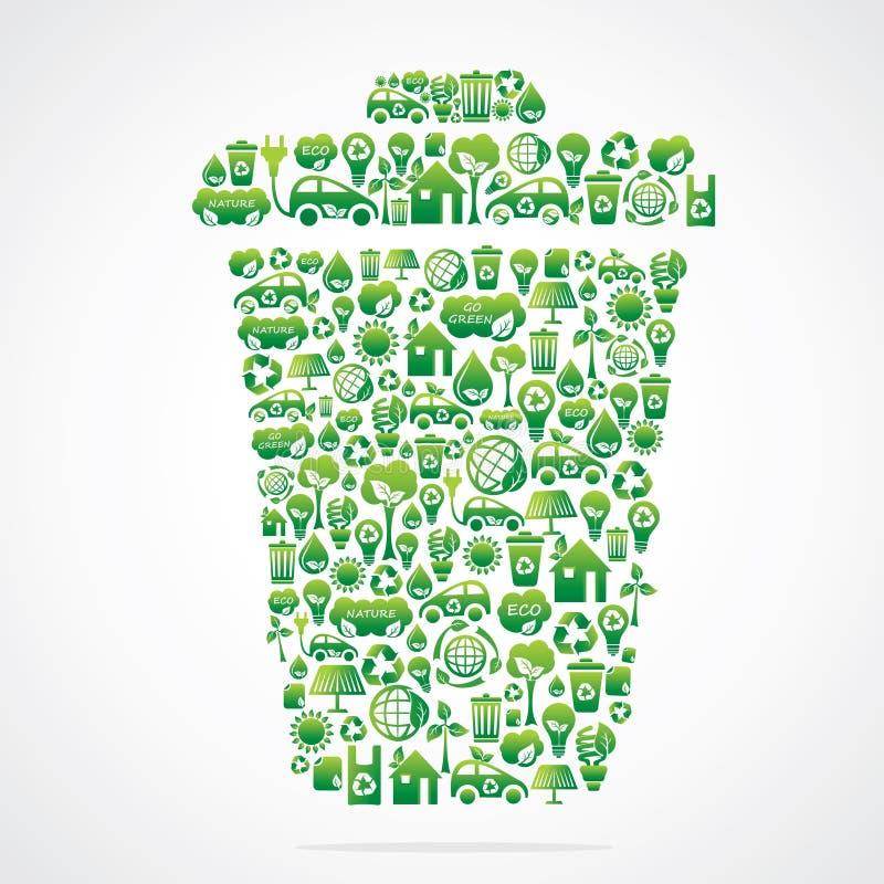 Download Mülleimer Ist Auslegung Mit Eco Naturikone Vektor Abbildung - Illustration von frech, umwelt: 27725240
