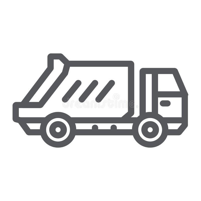 Müllwagenlinie Ikone, Transport und Selbst-, überschüssiges Lastwagenzeichen, Vektorgrafik, ein lineares Muster auf einem weißen lizenzfreie abbildung