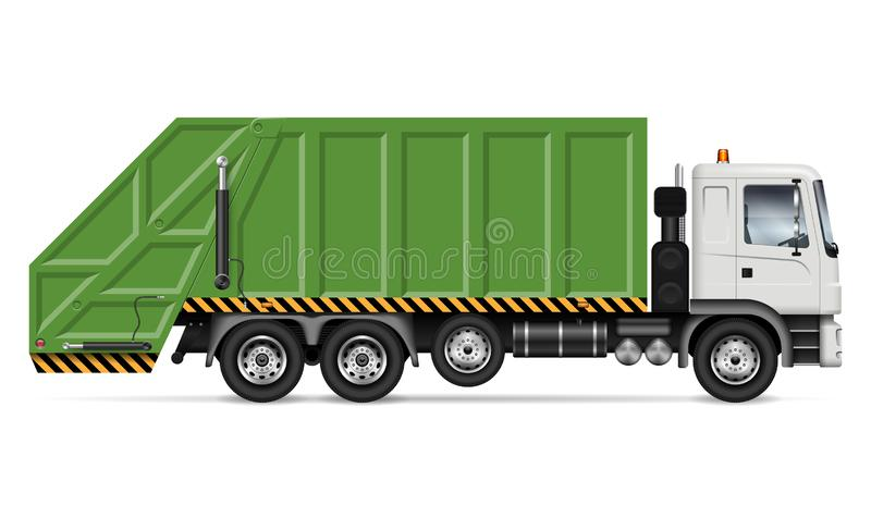 Müllwagenvektorillustration lizenzfreie abbildung