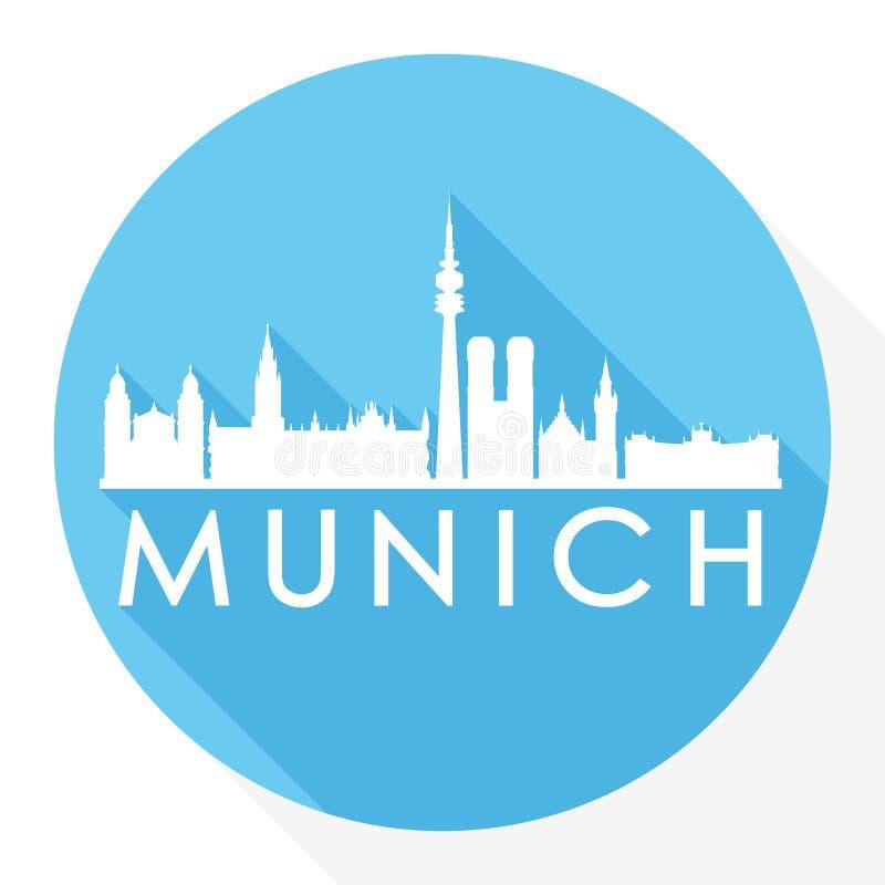 München Duitsland Europa om van het de Stadssilhouet van Pictogram Vectorart flat shadow design skyline het Malplaatjeembleem royalty-vrije illustratie