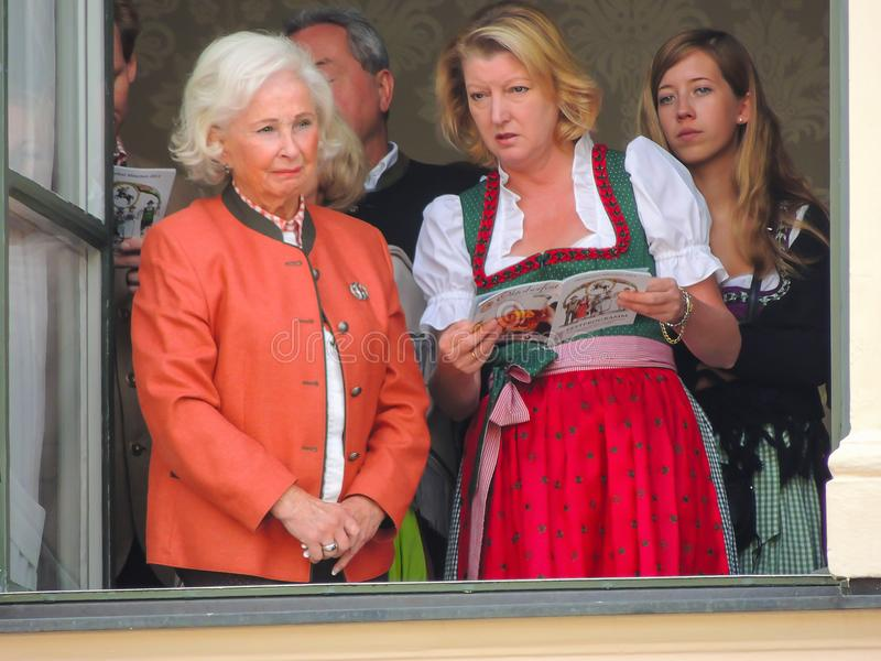 München, Duitsland - 22 September 2013 Oktoberfest, parade Vrouwen w stock foto