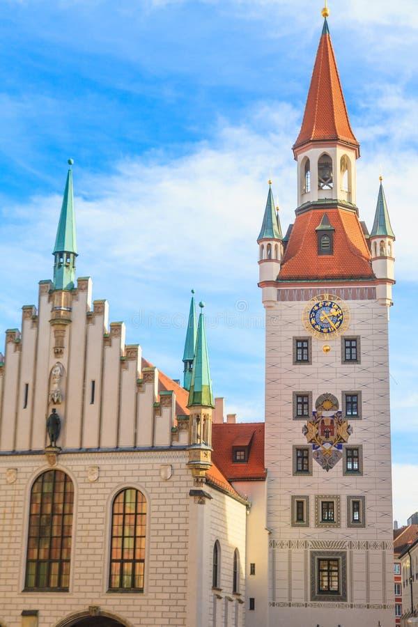 München, Oud Stadhuis met Toren, Beieren stock foto