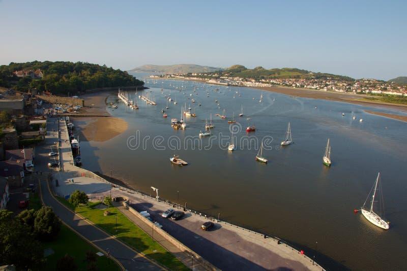 Mündung in Conwy, Nordwales lizenzfreie stockbilder