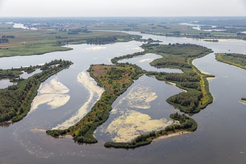 Mündung von niederländischem Fluss IJssel mit kleinen Inseln und Sumpfgebieten lizenzfreie stockfotografie