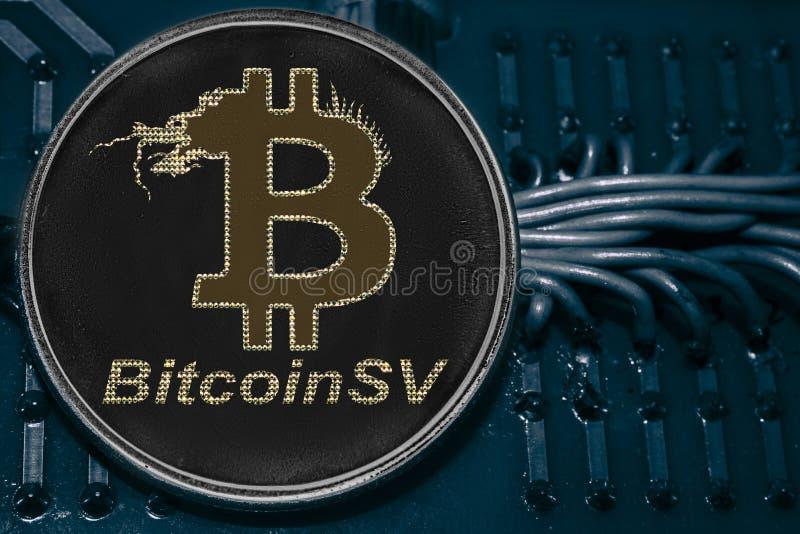 M?nze cryptocurrency Bitcoin SV auf dem Hintergrund von Dr?hten und von Stromkreisen BSV lizenzfreies stockfoto