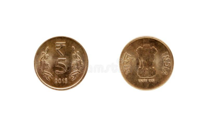Münze der indischen Rupie fünf lizenzfreie stockfotos