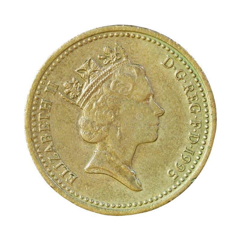 Münze des britischen Pfunds auf Weiß stockbilder
