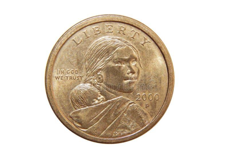 Münze eine US-Dollar Sacagawea-Dollar lizenzfreie stockfotografie