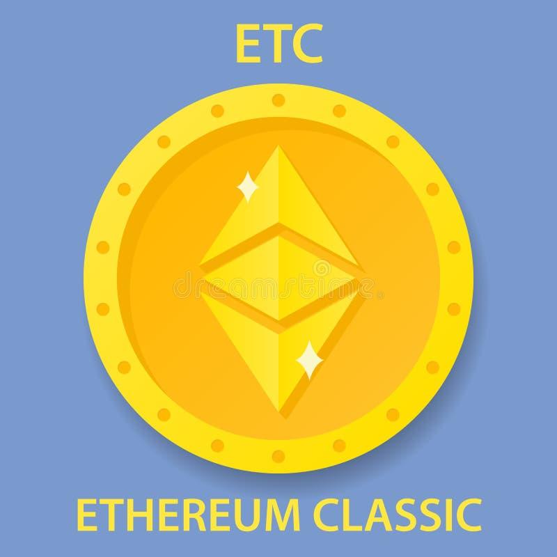 Münze Ethereum klassische cryptocurrency blockchain Ikone Virtuelles elektronisches, Internet-Geld oder cryptocoin Symbol, Logo lizenzfreie abbildung