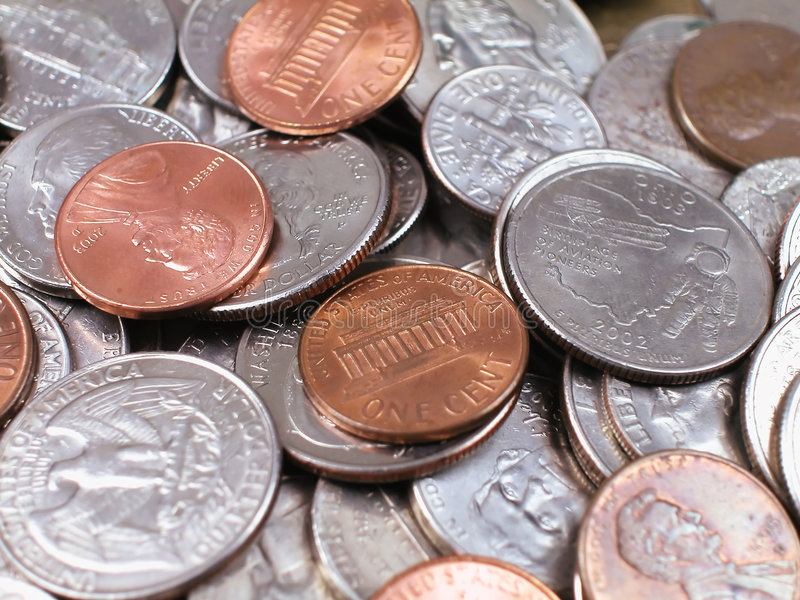 Münze-Mit Pennys stockfoto