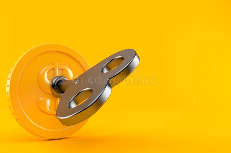 Münze mit Schlüssel lizenzfreie abbildung