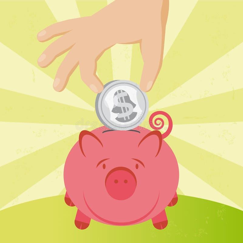 Münze und piggy stock abbildung
