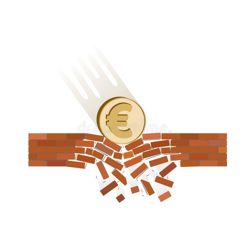 Münze von Euro fallen unten auf einen weißen Hintergrund stock abbildung
