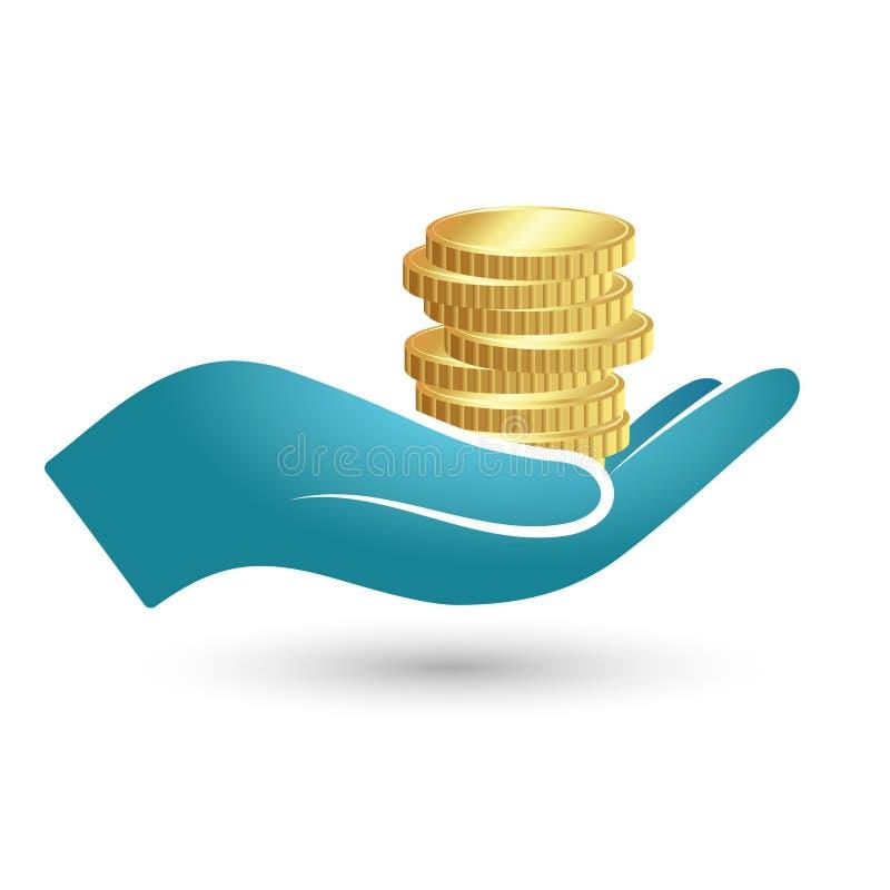 Münzen in der Hand lizenzfreie abbildung