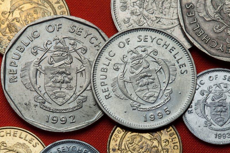 Münzen der Seychellen stockfotos