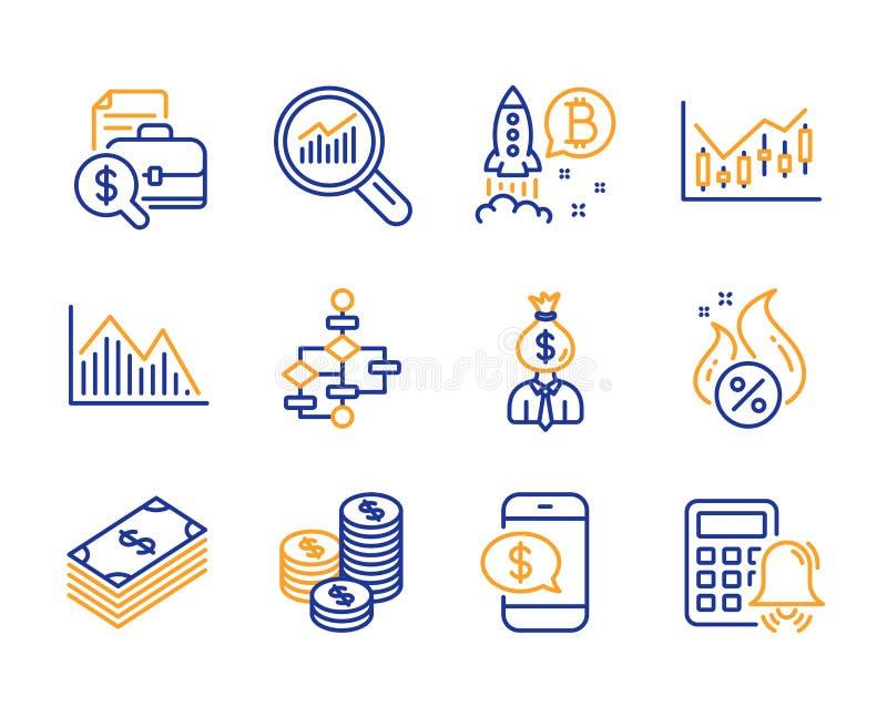 Münzen-, Dollar- und Santendiagrammikonensatz Bitcoin Projekt-, Erklärenbericht und Finanzdiagrammzeichen Vektor lizenzfreie abbildung