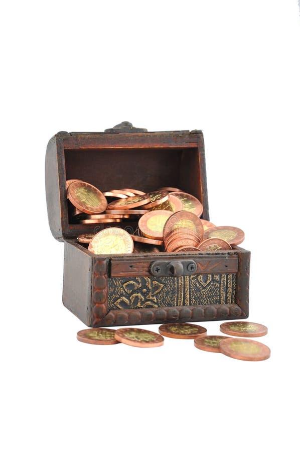 Münzen in einem Kasten lizenzfreie stockbilder