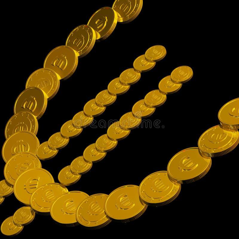 Münzen-Eurosymbol, das europäische Währung zeigt stock abbildung