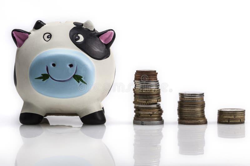 Münzen für Bank lizenzfreies stockfoto