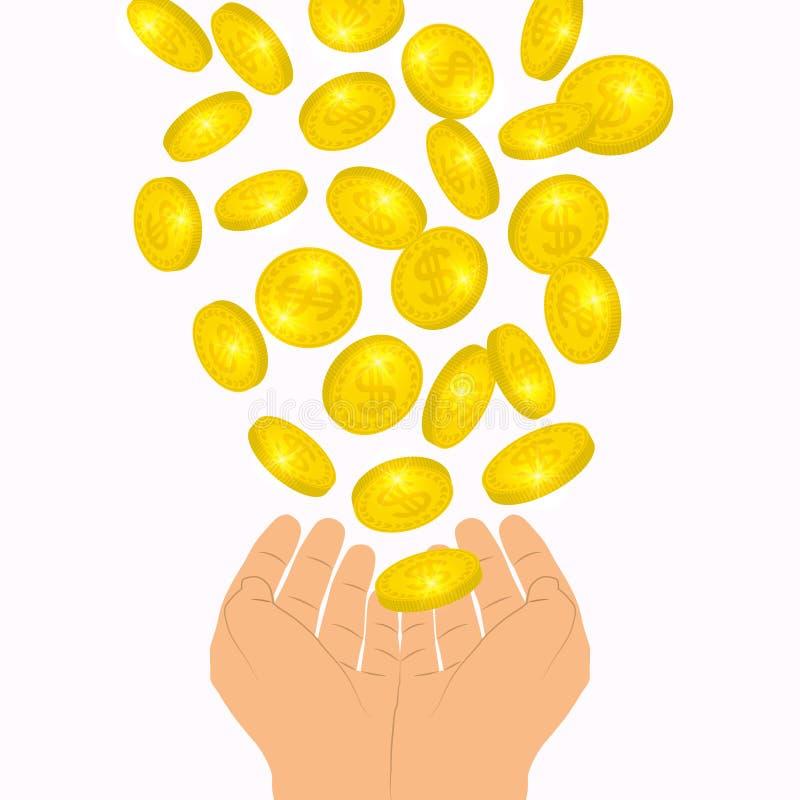 Münzen fließen fallend zu den Händen von oben Gewinn bringendes Konzept Fallende Dollar des Lotteriegewinns zum Palmenhintergrund vektor abbildung