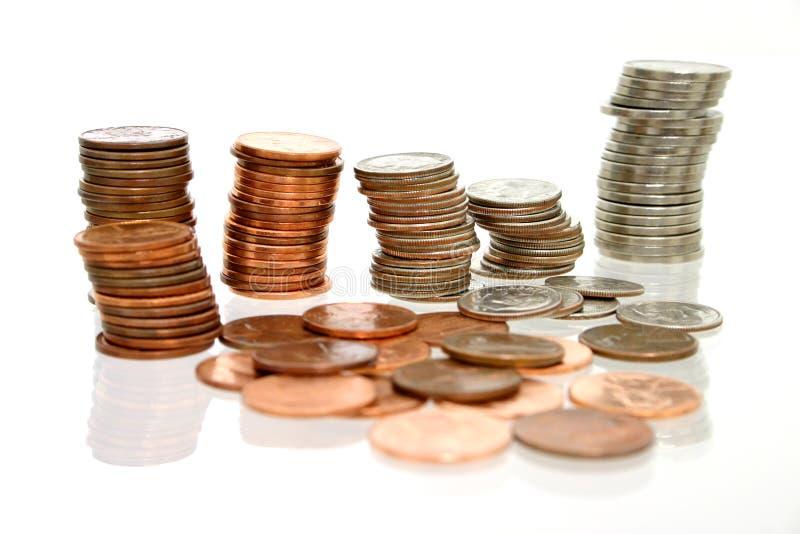 Münzen-Geld in den Stapeln lizenzfreies stockbild