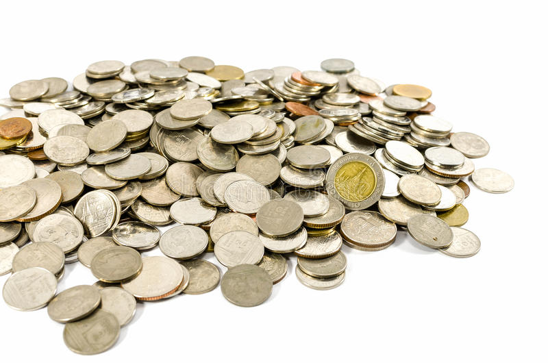 Münzen getrennt auf Weiß lizenzfreies stockfoto