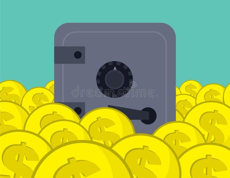 Münzen häufen Safe an stock abbildung