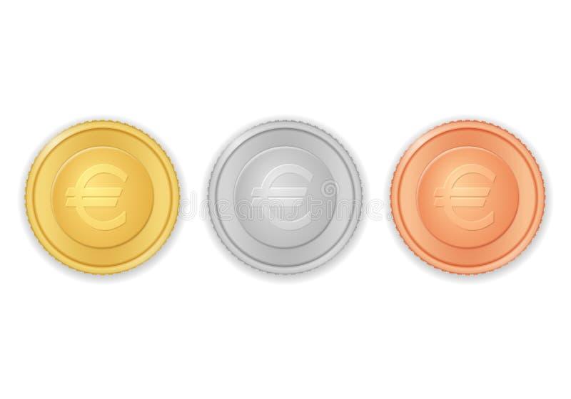 Münzen mit Eurosymbol lizenzfreie abbildung