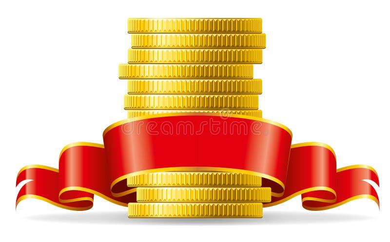 Münzen mit rotem Bogen vektor abbildung