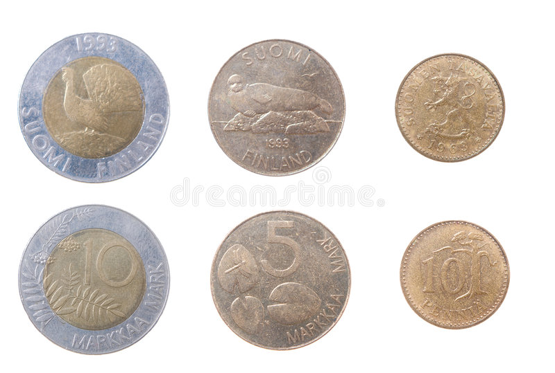 Münzen nach Finnland stockbild