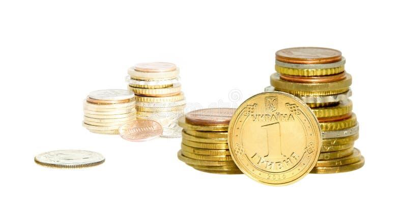 Münzen stapeln getrennt stockfotografie
