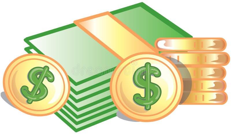 Münzen und Dollar Ikone lizenzfreie abbildung