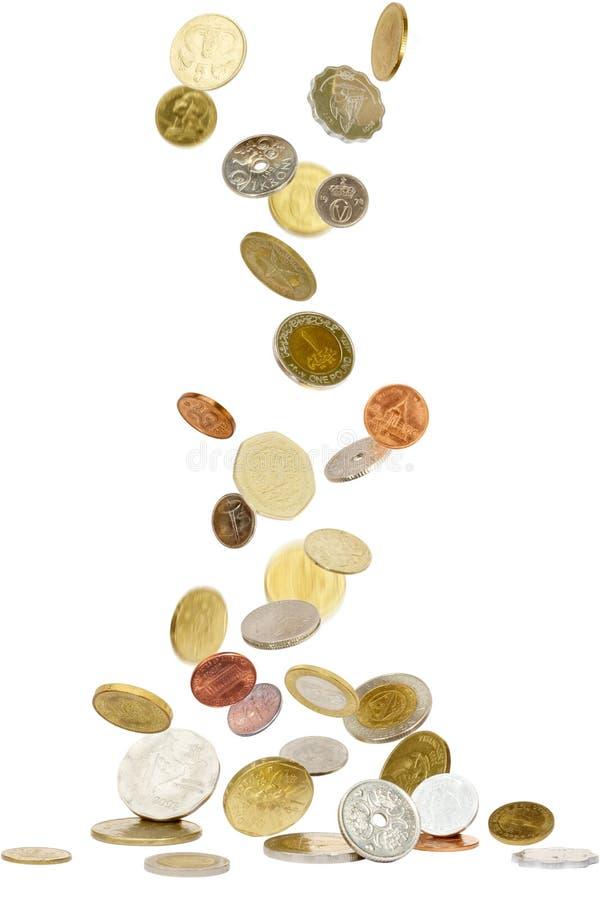 Münzen von auf der ganzen Erde lizenzfreie stockfotos