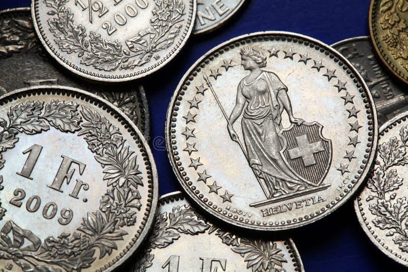 Münzen von der Schweiz stockbilder