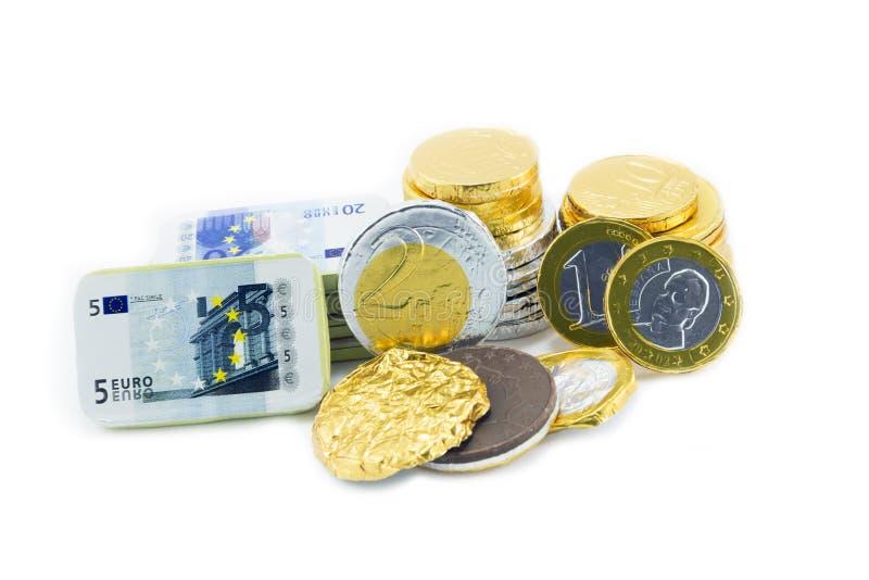 Münzen von einem Euro, stockfotografie