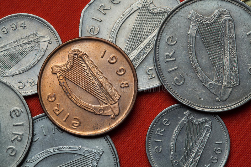 Münzen von Irland Keltische Harfe lizenzfreie stockfotografie