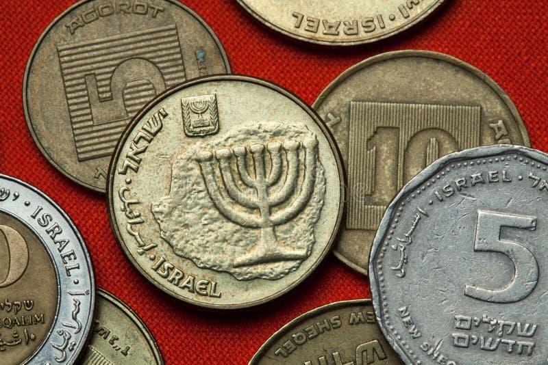 Münzen von Israel menorah lizenzfreie stockfotografie