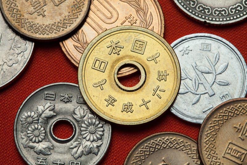 Münzen von Japan stockbilder