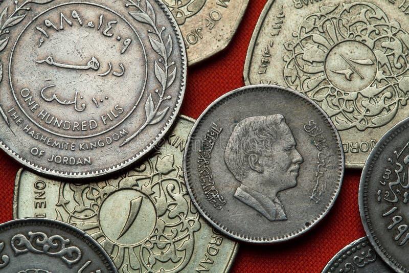 Münzen von Jordanien Bin Talal Königs Hussein lizenzfreies stockbild